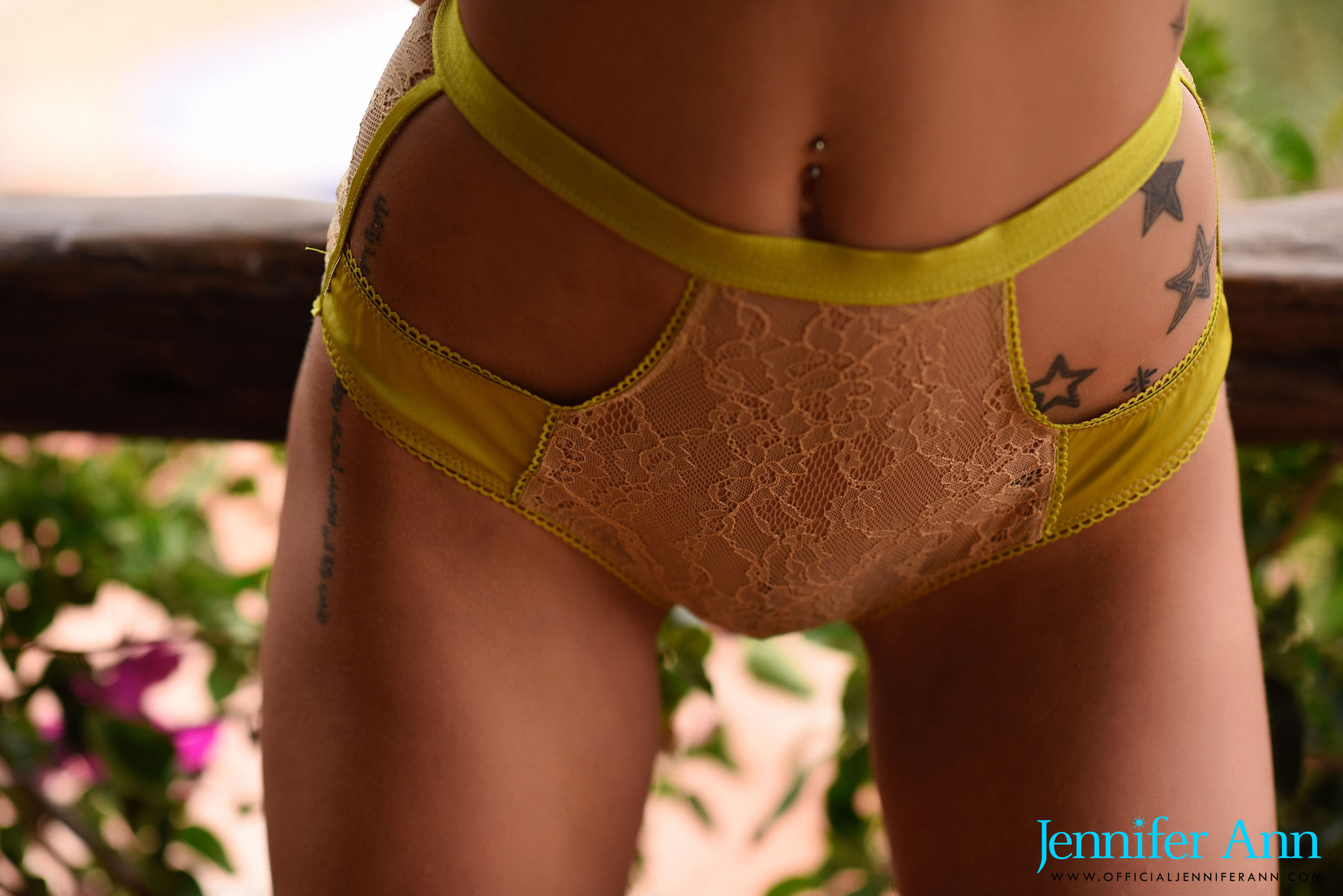 Jennifer Ann in sexy yellow lingerie