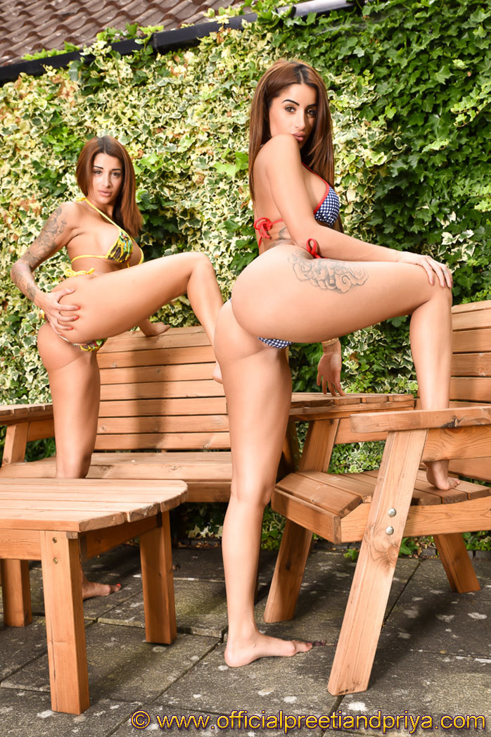 Bikini bombshells in the garden