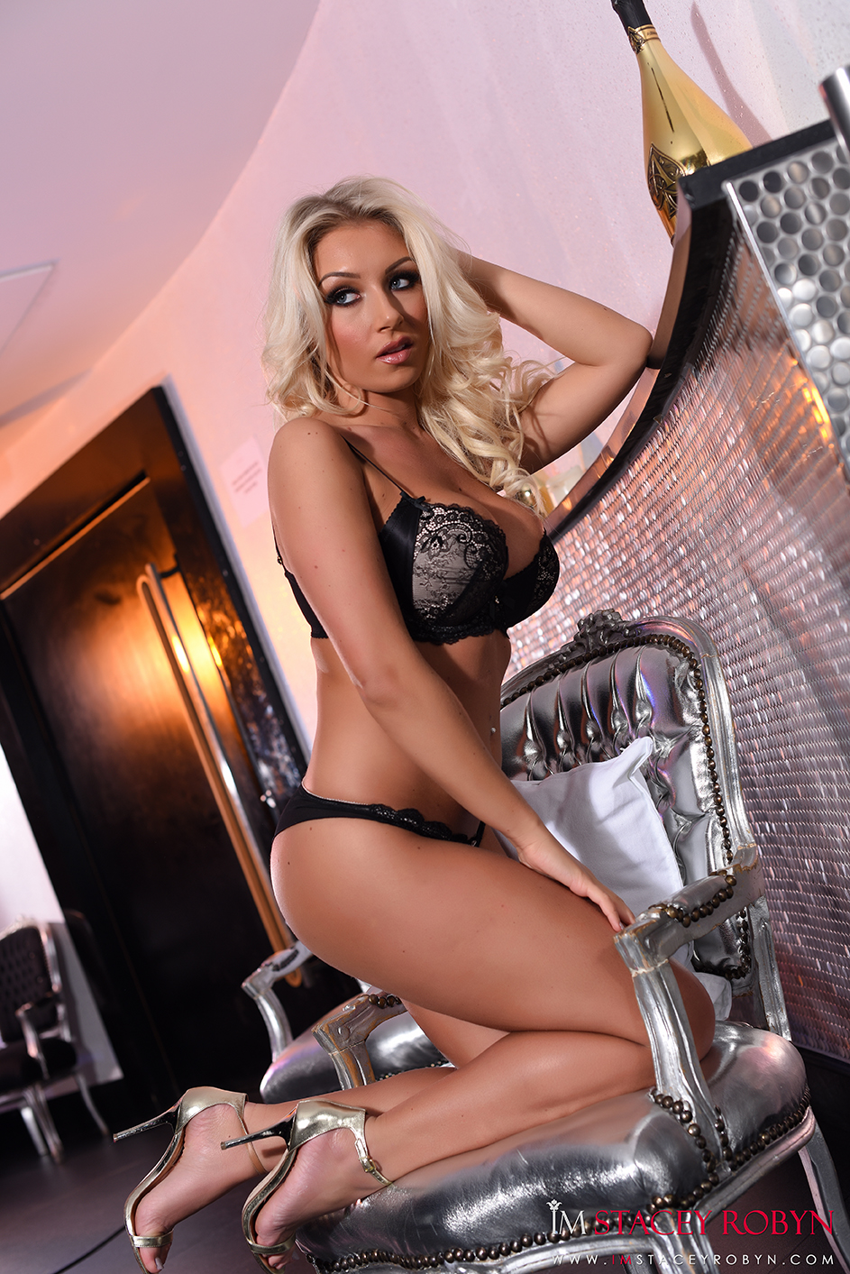 Stacey Robyn teasing in black lace lingerie