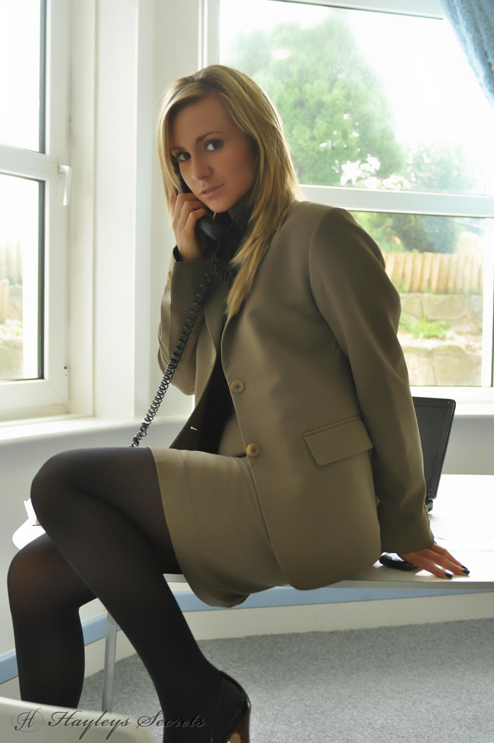 Sexy secretary Jenna J strips in the office