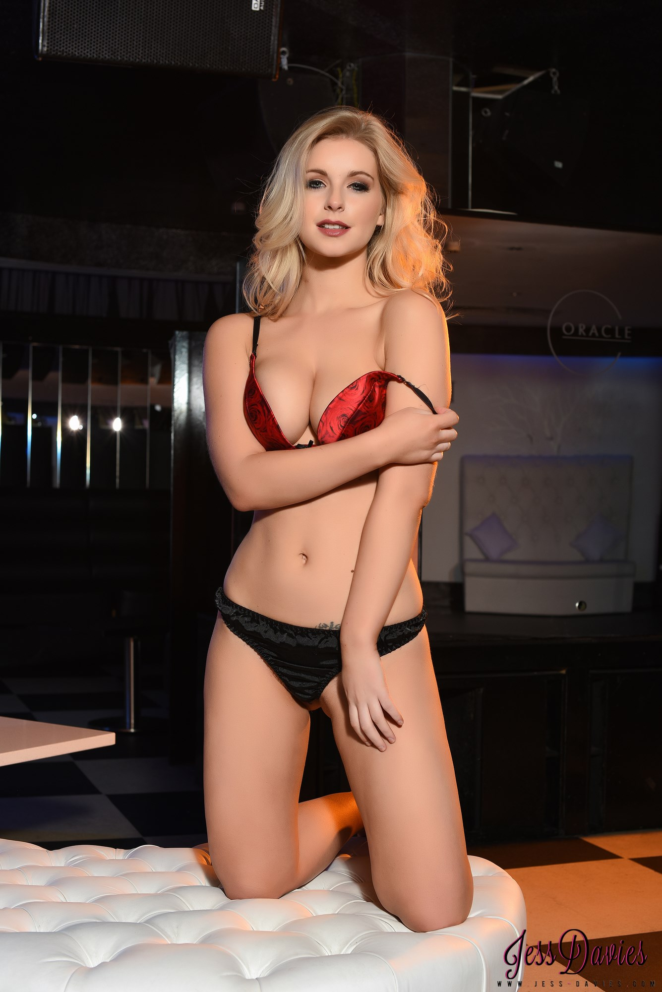 Jess Davies looking red hot in red and black lingerie